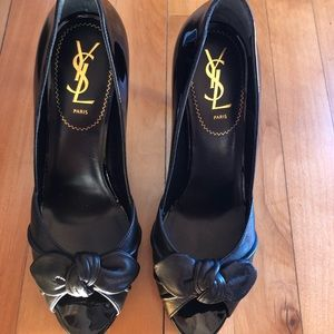 Black leather YSL pumps